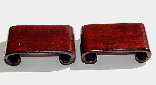 Pair Chinese Hardwood Scroll shape Display Stand