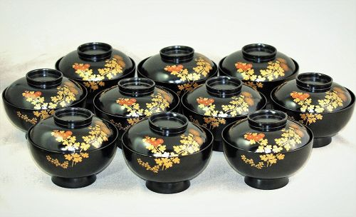 10 Japanese Lacquer covered Bowls, gold & red floral design