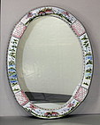 Portuguese hand painted Ceramic Mirror, large oval shape