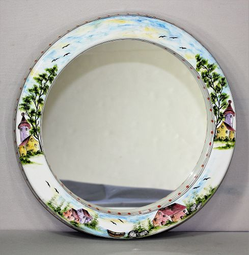 Portuguese Hand Painted on Ceramic Mirror