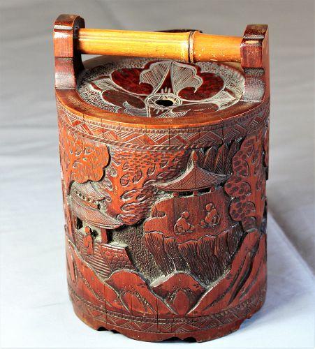 Japanese carved Bamboo Saki Jug or Saki Ewer, 19th C.