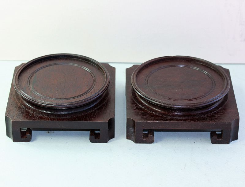 """Pair Chinese Hardwood Display Stands, labeled """"Made in Hong Kong"""""""