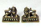 Pair Tibetan Brass Altar Prayer Foo Dogs or Foo Lions