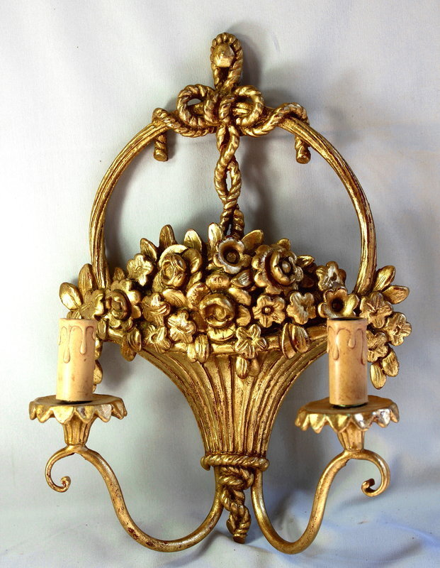 Gilded on wood carved 2 light Wall Sconces