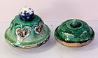 Two(2) Chinese green Pottery jar or vase tops or covers