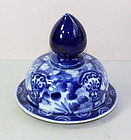 Japanese Porcelain Blue and White Top or Cover for jar or vase