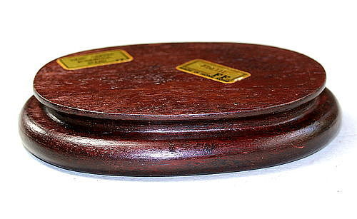 "Chinese Hardwood oval shape Display Stand, ""Made in Hong Kong"""
