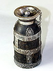 Himalayan Wood Ghee Butter Bottle with Silver mount