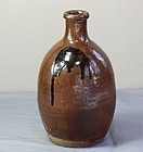 Japanese Brown Stoneware Saki Bottle or Tokkuri