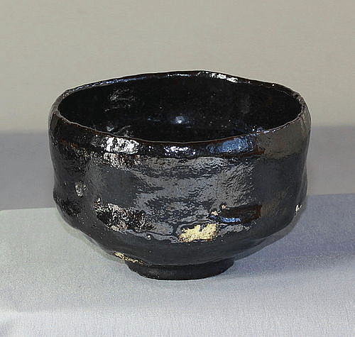 Japanese Black Raku Pottery Tea Bowl, Chawan with impressed mark