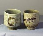 Two(2) Japanese Hagi stoneware Soba Noodle Cups