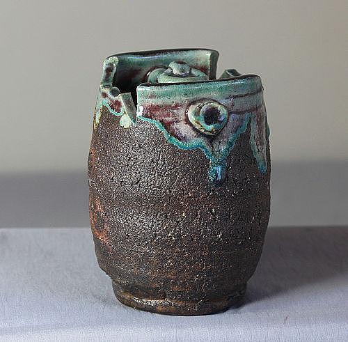 Japanese Stoneware Hanging Flower Vase
