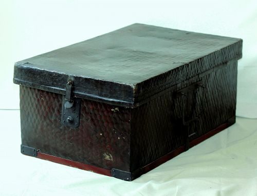 Japanese Bamboo Trunk with black lacquer finish