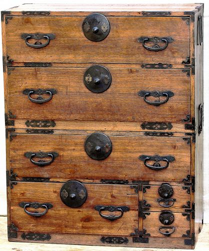 Japanese Tansu, 2 section chest with black iron hardware