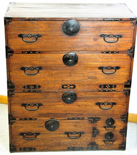 Japanese Tansu, 2 section Kiri wood, Crane decorated black iron