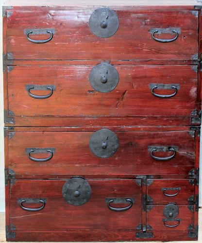 Japanese Tansu, mixed wood with black iron Hardware