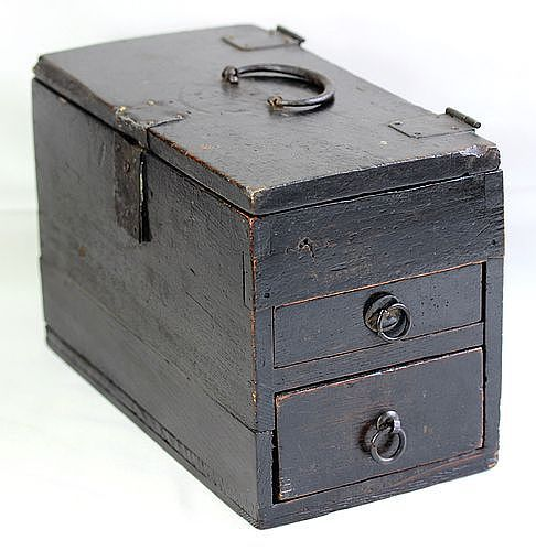 Japanese Cedar wood Writer's Box with Black Iron Hardware