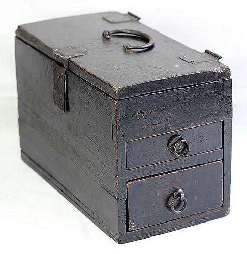 Japanese Cedar wood Writer's Box with Black Iron Hardware
