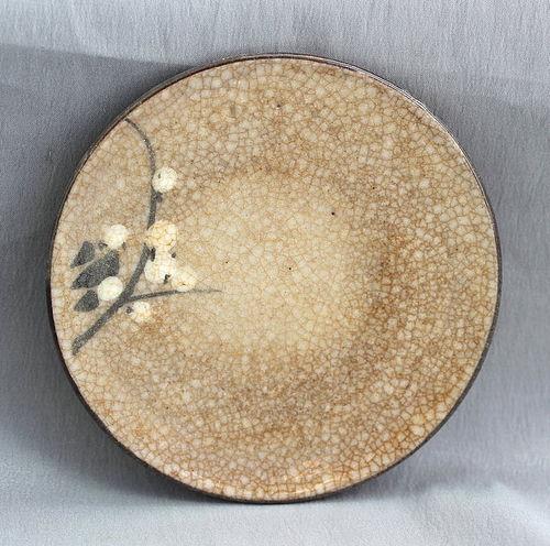 Japanese Earthenware Dish, brown cracked glaze