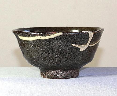Japanese Earthenware Bowl, black with white splash design