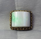Chinese Jadeite Clip, gilded Silver Filigree mount, 19th C.