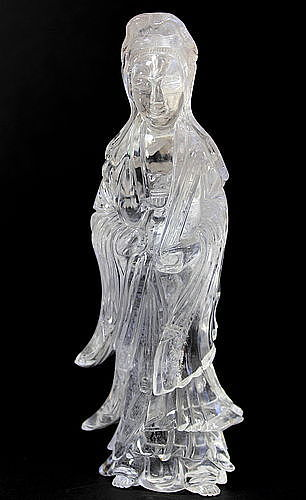 Chinese carved Rock Crystal Guan Yin Figure, 19th C.