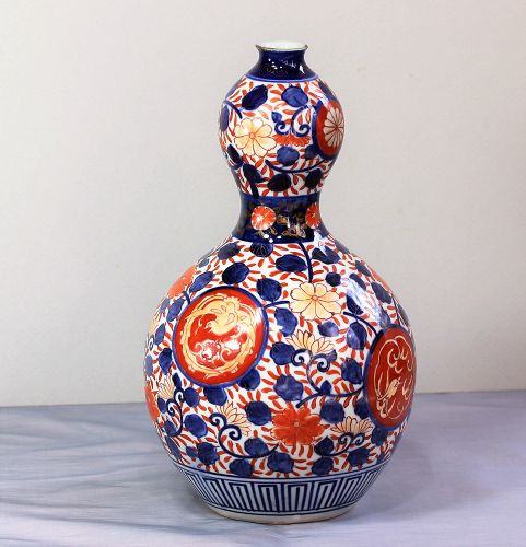 Japanese Imari Porcelain double gourd Vase, 19th C.
