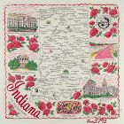 """STATE SOUVENIR HANKY, INDIANA, �THE HOOSIER STATE"""""""
