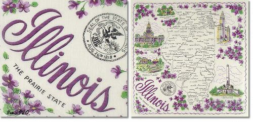 STATE SOUVENIR HANKY, ILLINOIS, �THE PRAIRIE STATE�