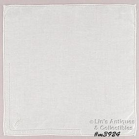 WHITE HANDKERCHIEF WITH WHITE �M� MONOGRAM
