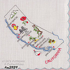 VINTAGE FRANSHAW EMBROIDERED CALIFORNIA STATE SOUVENIR HANDKERCHIEF