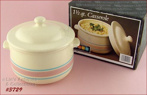 McCOY POTTERY � PINK AND BLUE CASSEROLE (MIB)