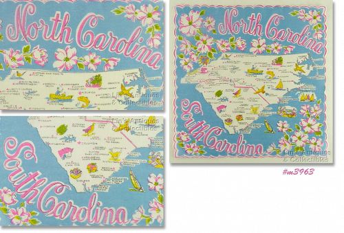 STATE SOUVENIR HANDKERCHIEF, NORTH AND SOUTH CAROLINA