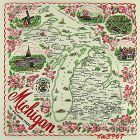 STATE SOUVENIR HANKY, MICHIGAN �THE WOLVERINE STATE�