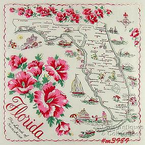 STATE SOUVENIR HANKY, FLORIDA �THE LAND OF SUNSHINE�