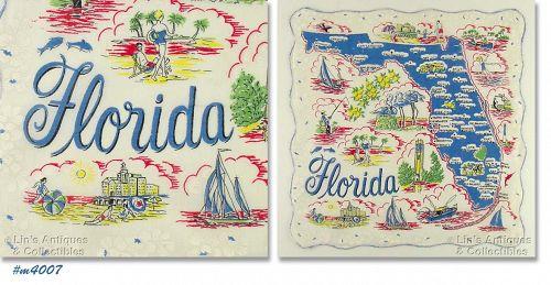 STATE SOUVENIR HANDKERCHIEF, FLORIDA