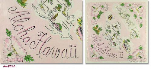 STATE SOUVENIR HANDKERCHIEF, ALOHA HAWAII