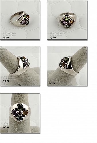 SILVER RING WITH MULTI-COLOR GEMSTONES