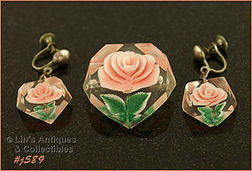 PINK ROSE PIN AND EARRINGS