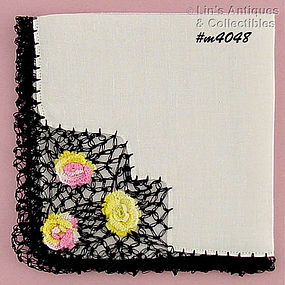 HANDKERCHIEF WITH BLACK CROCHET EDGING