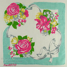 RIBBONS AND FLOWERS LARGE HANDKERCHIEF