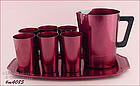 ALUMINUMWARE � REGAL PITCHER, TUMBLERS, AND TRAY (RED)