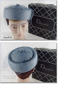 BLUE HAT WITH NETTING VEIL