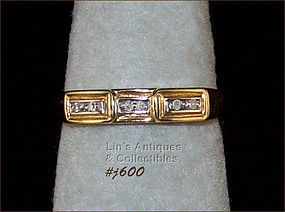 10K GOLD BAND WITH DIAMONDS (SIZE 6 ½)