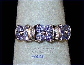 10K WHITE GOLD TANZANITE AND DIAMOND RING (SIZE 7)