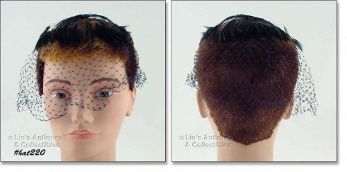BLACK VEIL HEAD COVERING WITH BLACK FEATHERS
