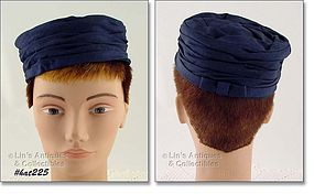 NAVY BLUE PILLBOX STYLE HAT