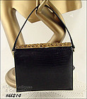 MEYERS VINTAGE BLACK HANDBAG WITH FANCY CLOSURE