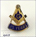 MASONIC STERLING WITH DIAMOND 25 YEAR PIN