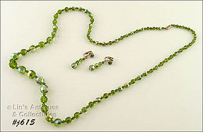 GREEN GLASS BEAD NECKLACE AND MATCHING EARRINGS
